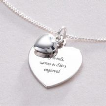 Engraved Heart on Heart Necklace